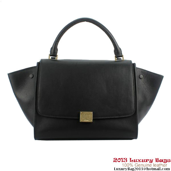 Celine 16954 Trapeze Top Handle Bag Original Leather Black