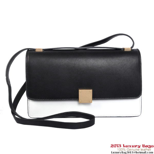 Celine Case Bag Calfskin Leather 17081 12072 Black&White