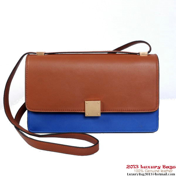 Celine Case Bag Calfskin Leather 17081 12072 Brown&Blue