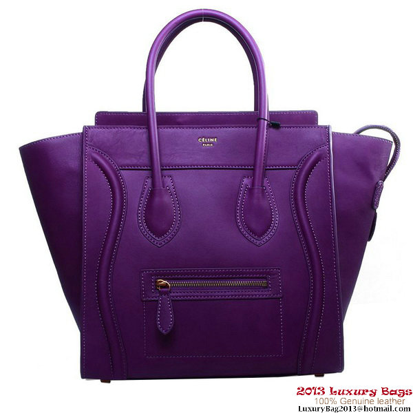 Celine Luggage Mini Shopper Bag Original Leather 16521 3308 Purple
