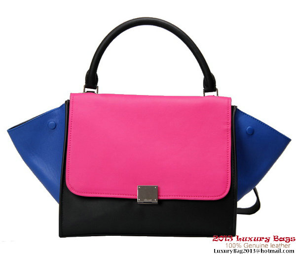 Celine Trapeze Top Handle Bag Calfskin Leather 16954 12710 Rosy&Blue&Black