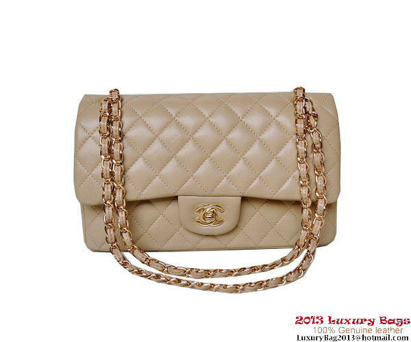 Chanel A01112 Classic Flap Bag Apricot Sheepskin Gold