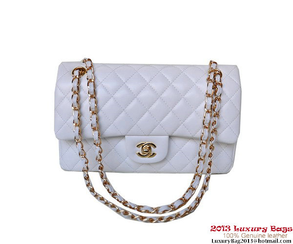 Chanel A01112 Classic Flap Bag White Sheepskin Gold