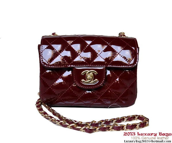 Chanel A01115 mini Flap Bag Bordeaux Patent Leather Gold