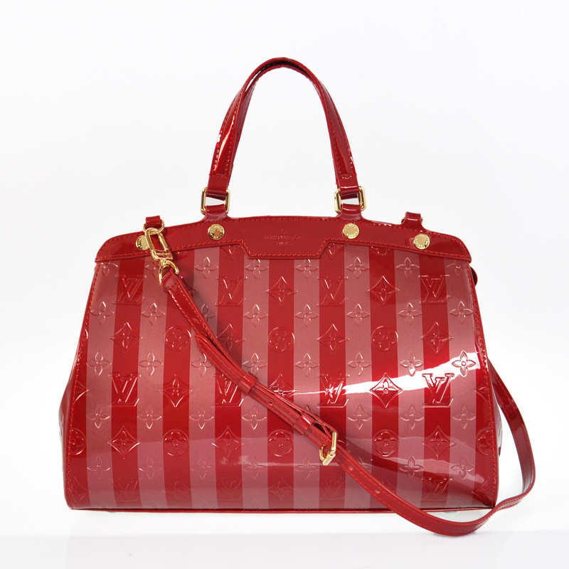 Louis Vuitton Monogram Vernis Rayures Brea MM M91615 Red