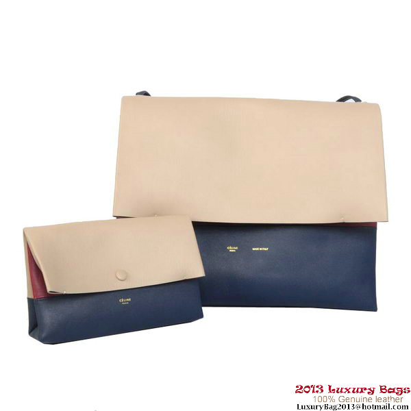 Celine All Soft in Calfskin Shoulder Bag 17218 12086 Grey&RoyalBlue