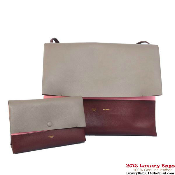 Celine All Soft in Calfskin Shoulder Bag 17218 12086 Grey&Wine