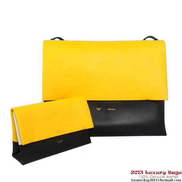 Celine All Soft in Calfskin Shoulder Bag 17218 12086 Yellow&Black