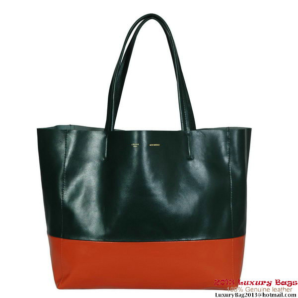 Celine BI Cabas in Sheepskin 16555 11074 Dark Green&Orange