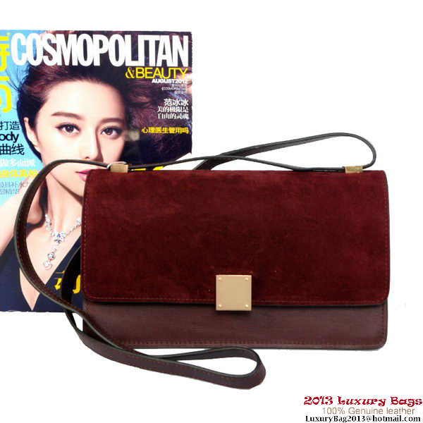 Celine Case Bag Sheepskin & Nubuck Leather 17081 328 Burgundy
