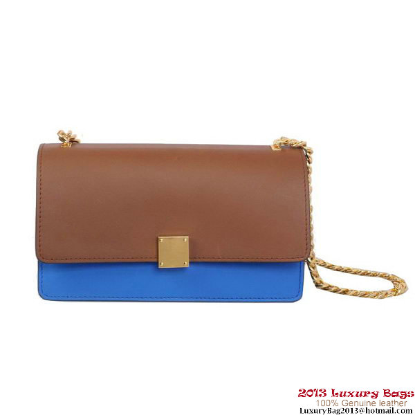 Celine Case Bag Calfskin Leather 17081 1207B Brown&Blue