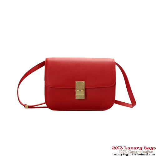 Celine Classic Box Red Calfskin Leather Small Flap Bag