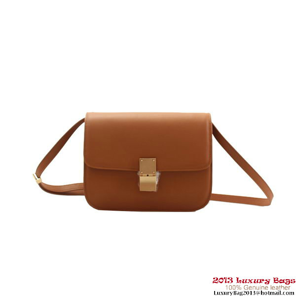 Celine Classic Box Small Flap Bag Calfskin Leather 80077 Camel