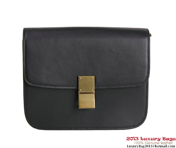 Celine Classic Box Small Flap Bag Calfskin Leather 88007 Black