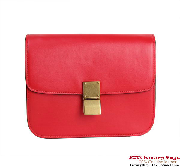 Celine Classic Box Small Flap Bag Calfskin Leather 88007 Red