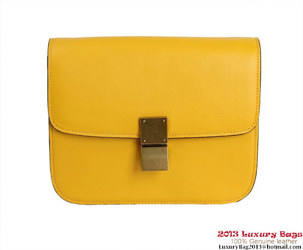 Celine Classic Box Small Flap Bag Calfskin Leather 88007 Yellow