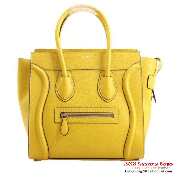 Celine Luggage Micro Boston Bag Clemence Leather Lemon