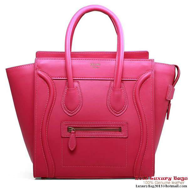 Celine Luggage Micro Boston Bag Fluorescence Original Leather Peach