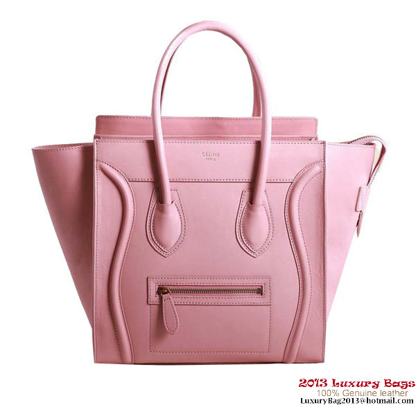 Celine Luggage Micro Boston Bag Original Leather Pink