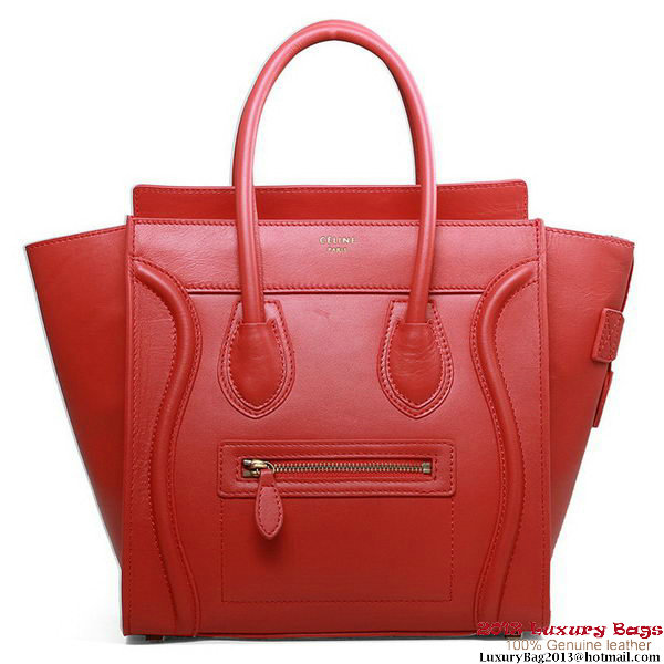 Celine Luggage Micro Boston Bag Original Leather Red
