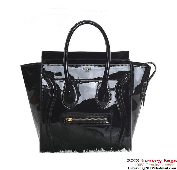 Celine Luggage Micro Boston Bag Patent Black