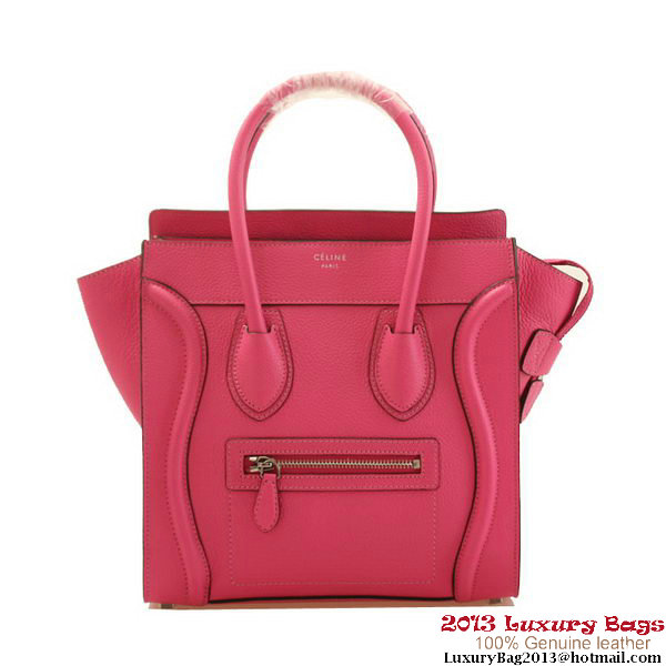 Celine Luggage Micro Boston Bags Fluorescence Leather Rose