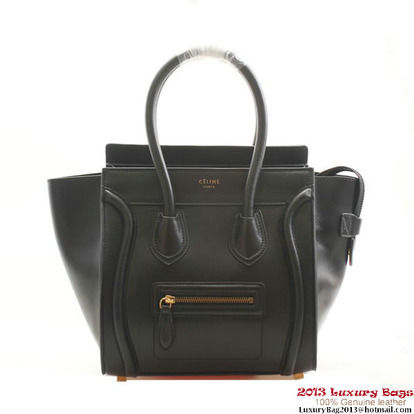 Celine Luggage Micro Boston Bags Smooth Leather Black