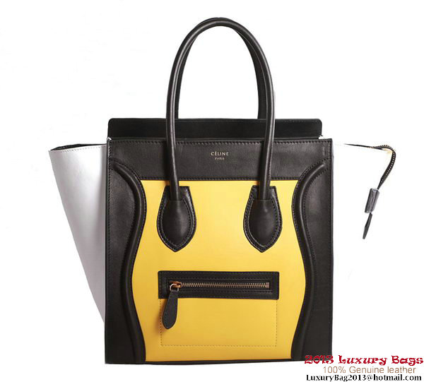 Celine Luggage Mini Boston Tote Bags Original Leather Black&Yellow&White