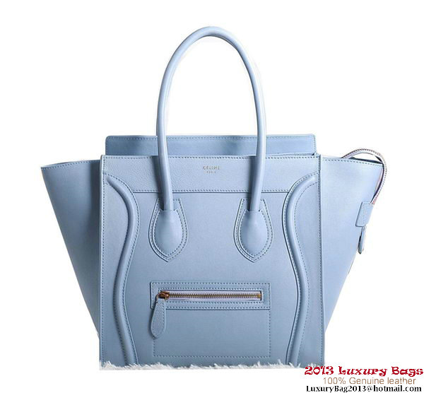 Celine Luggage Mini Boston Tote Bags Original Leather SkyBlue