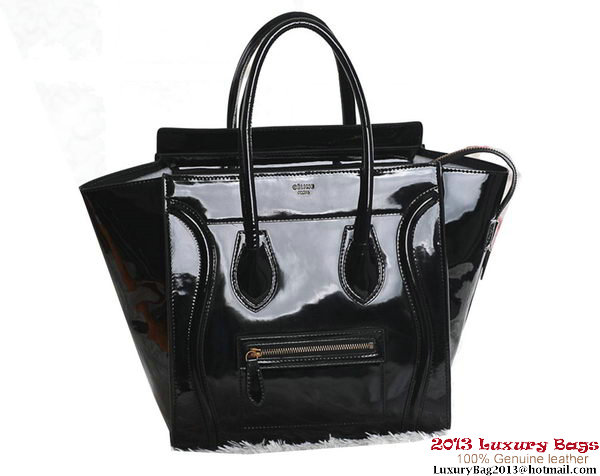 Celine Luggage Mini Boston Tote Bags Patent Leather Black