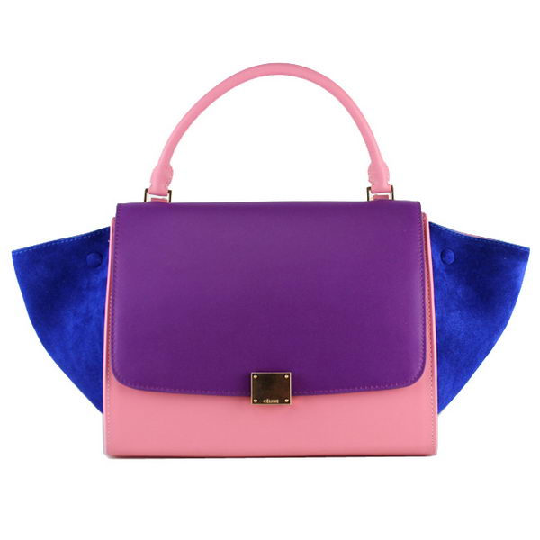 Celine Trapeze Bag Original Suede Leather 88037 Purple&Pink&Blue