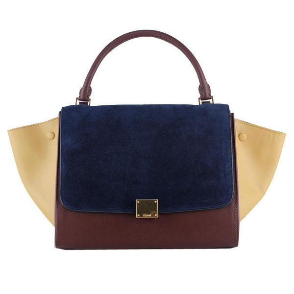 Celine Trapeze Bag Original Suede Leather 88037 RoyalBlue&Brown&Apricot