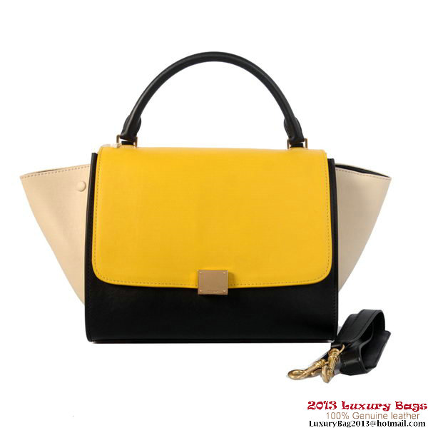 Celine Trapeze Top Handle Bag Calf Leather 16954 C008B Black&Yellow