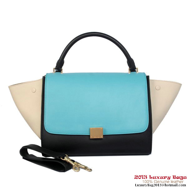 Celine Trapeze Top Handle Bag Calf Leather 16954 C008B Light Blue&Black
