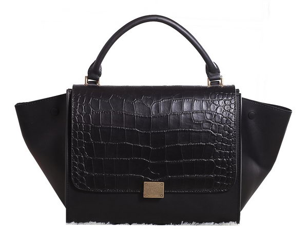 Celine Trapeze Top Handle Bag Croco Leather 3342 Black