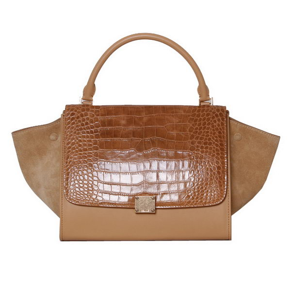 Celine Trapeze Top Handle Bag Croco Leather 88037 Apricot