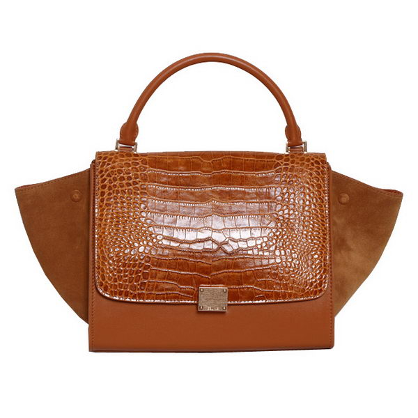 Celine Trapeze Top Handle Bag Croco Leather 88037 Brown