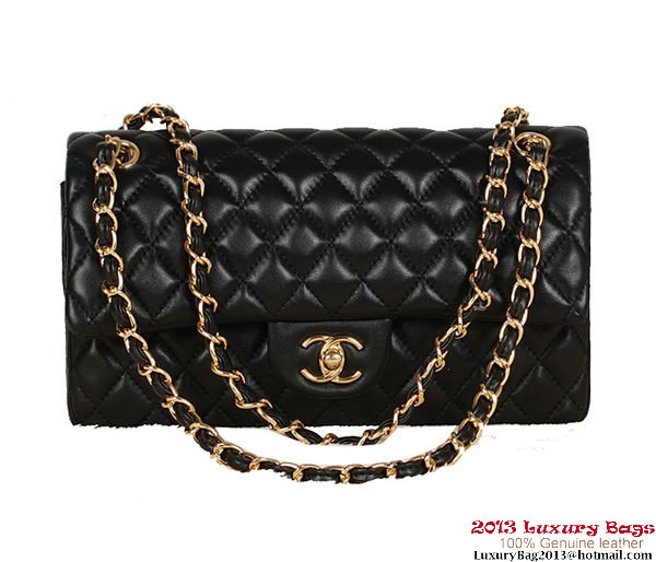Chanel 2.55 Series Bag Black Sheepskin Leather 1112 Gold