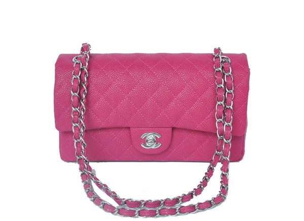 Chanel 2.55 Series Classic Flap Bag 1112 Rose Cannage Pattern Silver