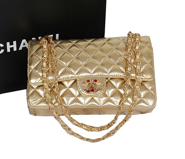 Chanel 2.55 Series Classic Flap Bag Gold Sheepskin 1112 Multicolour