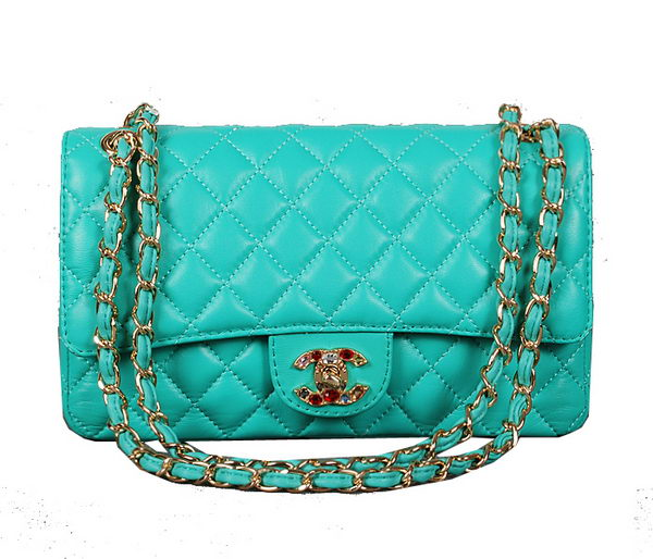 Chanel 2.55 Series Classic Flap Bag Light Blue Sheepskin 1112 Multicolour
