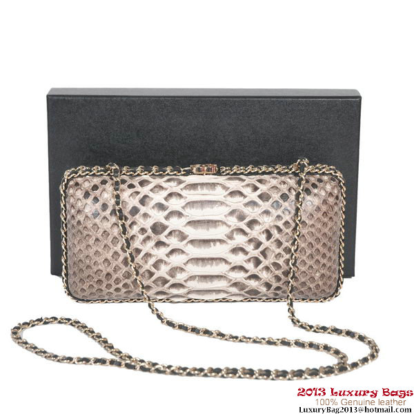 Chanel A69404 Snake Leather Evening Bag Grey