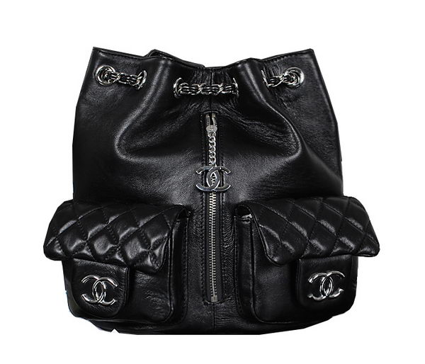 Chanel Backpack Sheepskin Leather A44618 Black