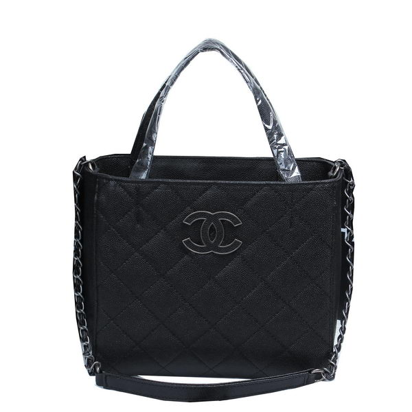 Chanel Cannage Pattern Leather Totes Bag A8002 Black