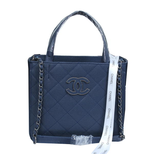 Chanel Cannage Pattern Leather Totes Bag A8002 Blue