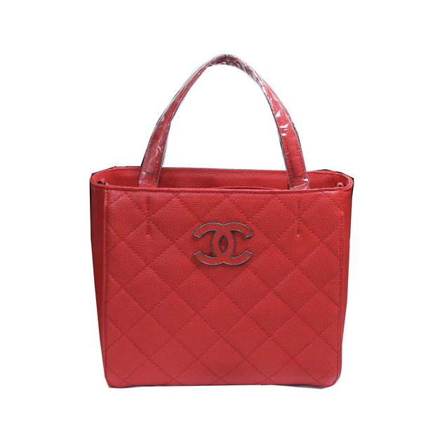 Chanel Cannage Pattern Leather Totes Bag A8002 Red