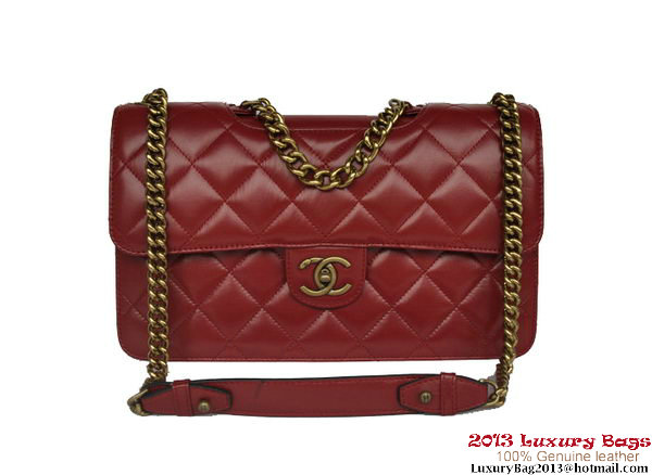 Chanel Flap Shoulder Bag Calfskin Leather A68321 Burgundy