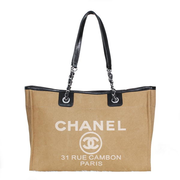Chanel Medium Canvas Shopping Bag A2043 Apricot