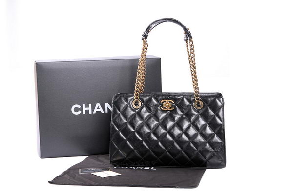 Chanel Perfect Edge Shiny Calf Leather Tote Bag A37013 Black