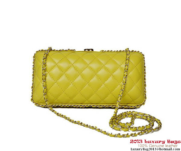 Chanel Sheepskin Leather Evening Bag A69404 Yellow